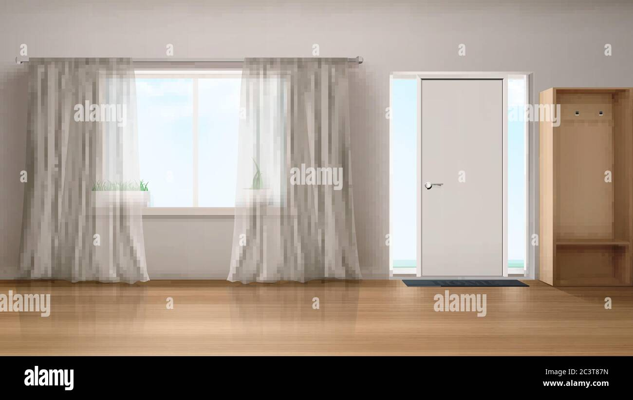 Home Hallway With Entrance Door Window With White Silk Curtains And Wardrobe Vector Realistic Interior Of Empty Corridor House Hall With Wooden Floor And Glass Insert Near Closed Door Stock Vector Image