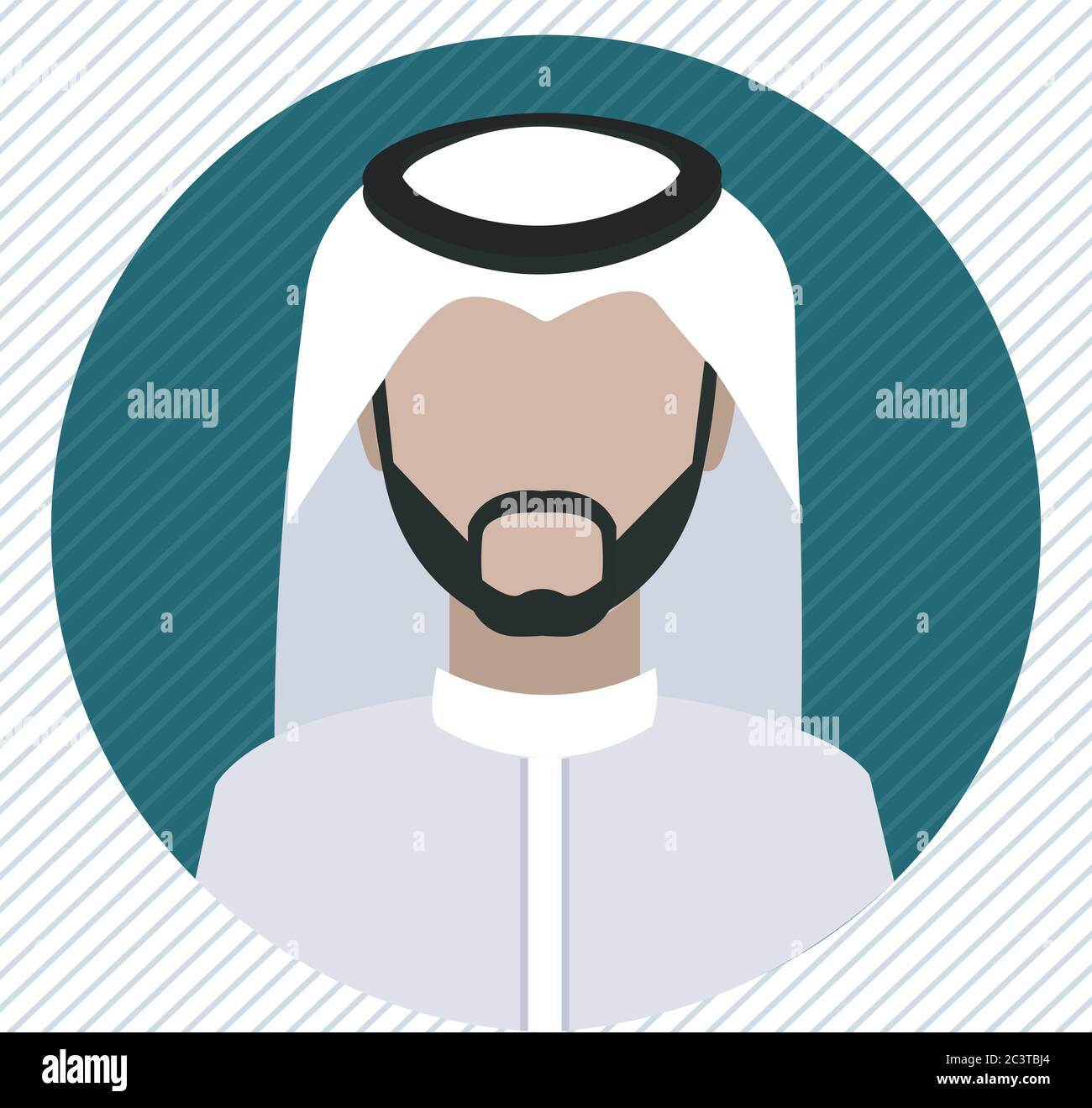 A Saudi man icon wearing shemagh and a thobe Stock Vector
