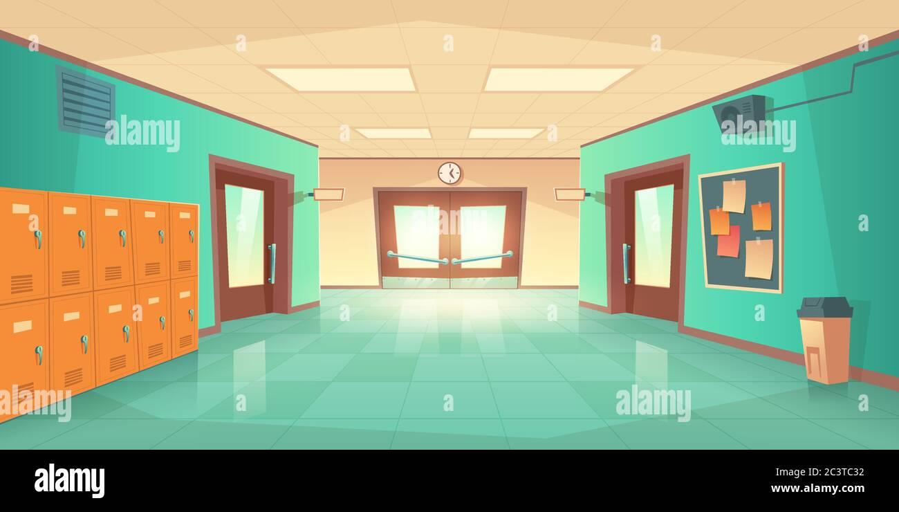 School Hallway Interior With Entrance Doors Lockers And Bulletin Board On Wall Vector Cartoon Illustration Of Empty Corridor In College University With Closed Classrooms Doors Stock Vector Image Art Alamy