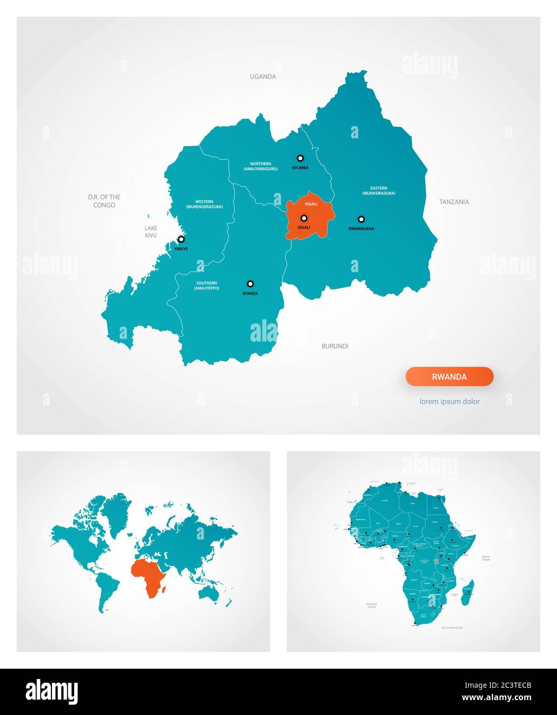 Image of: Editable Template Of Map Of Rwanda With Marks Rwanda On World Map And On Africa Map Stock Vector Image Art Alamy