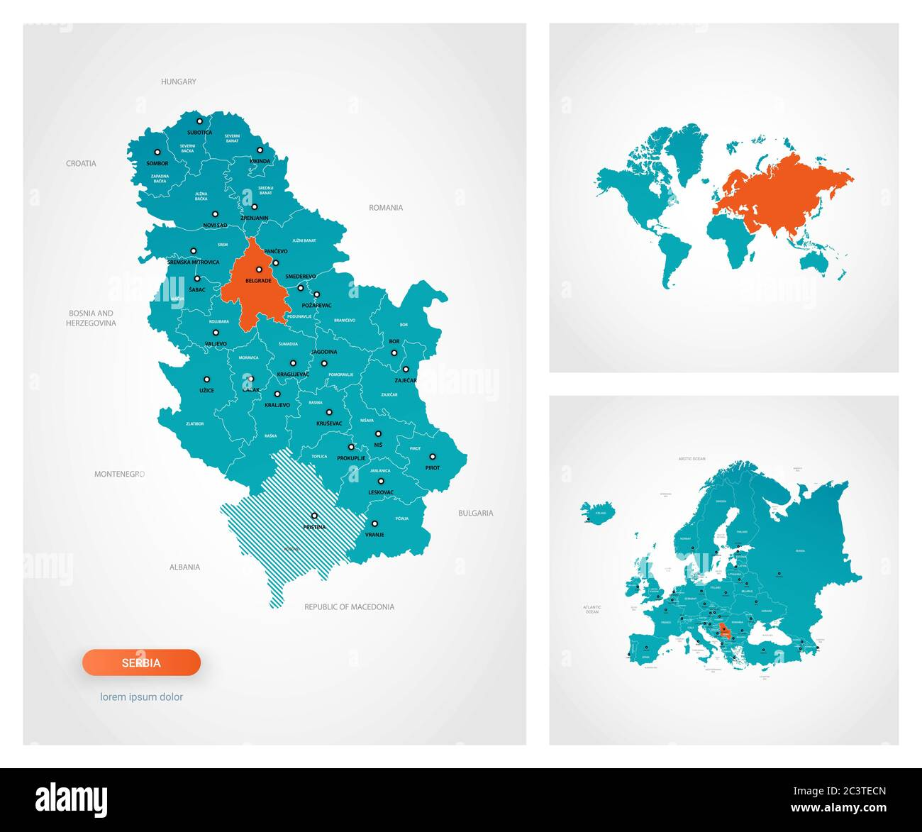 Editable Template Of Map Of Serbia With Marks Serbia On World Map And On Europe Map Stock Vector Image Art Alamy