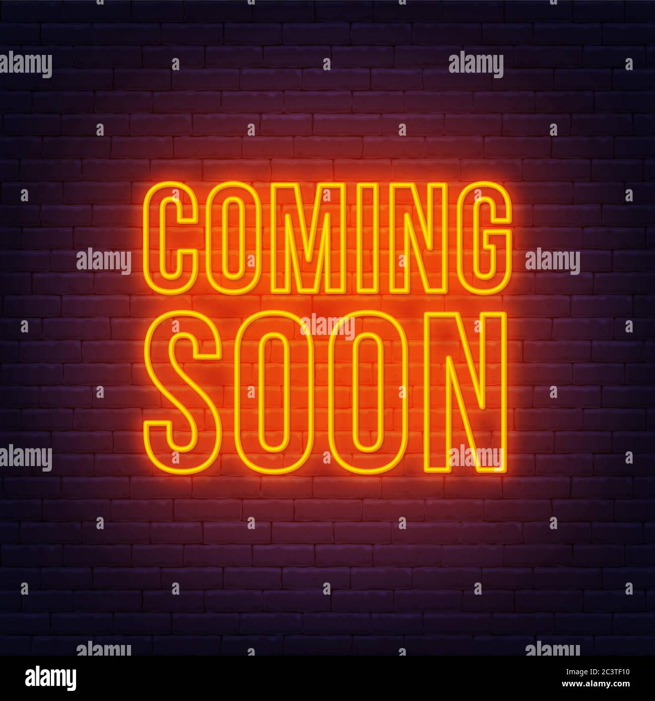 Coming Soon Neon Sign On A Brick Wall Background Stock Vector Image Art Alamy