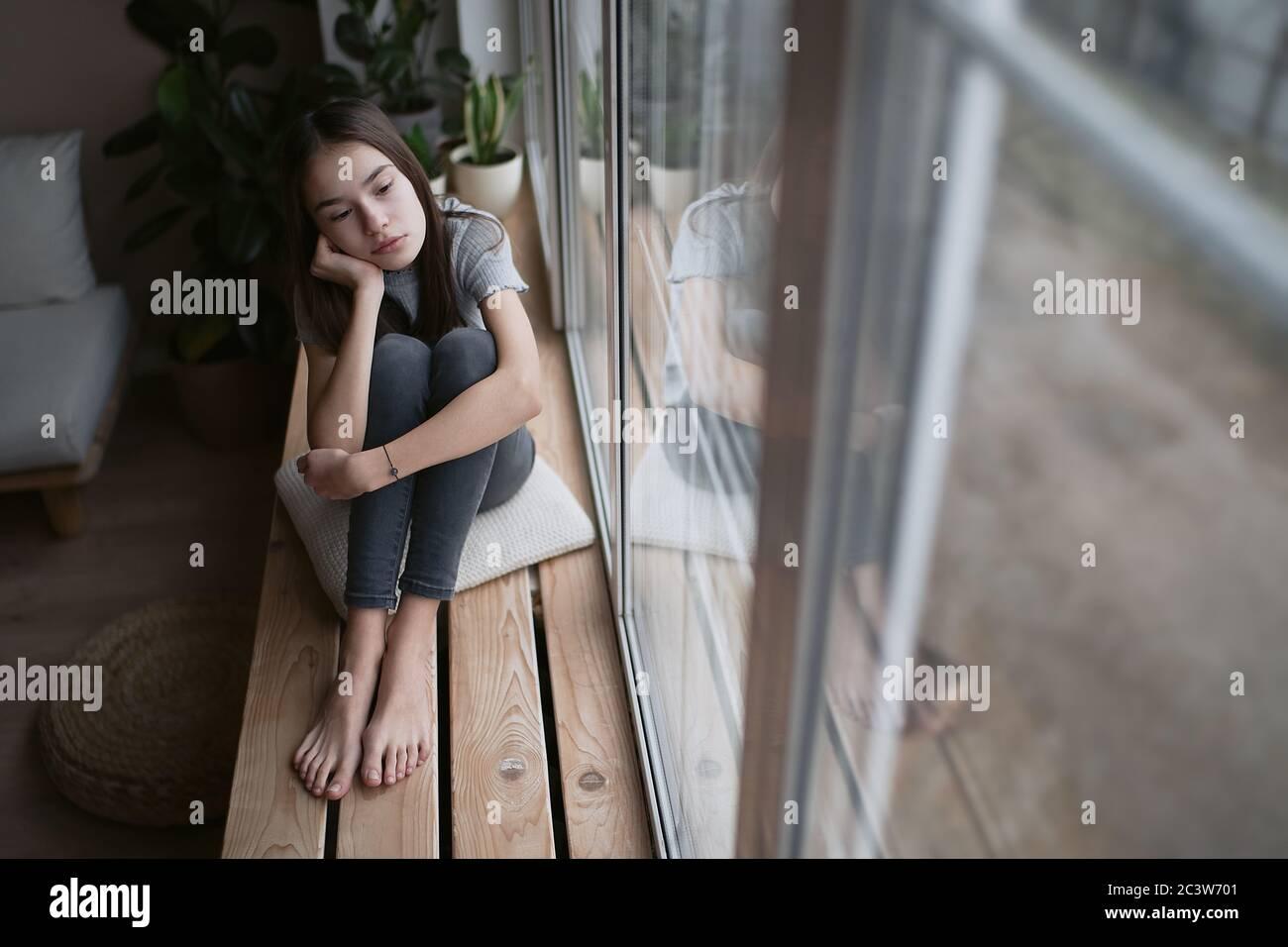 Sad Teenager Feeling Bad Alone Feeling Depressed Regrets Of Mistake Having Problems Adolescent Girl With Broken Heart Stock Photo Alamy