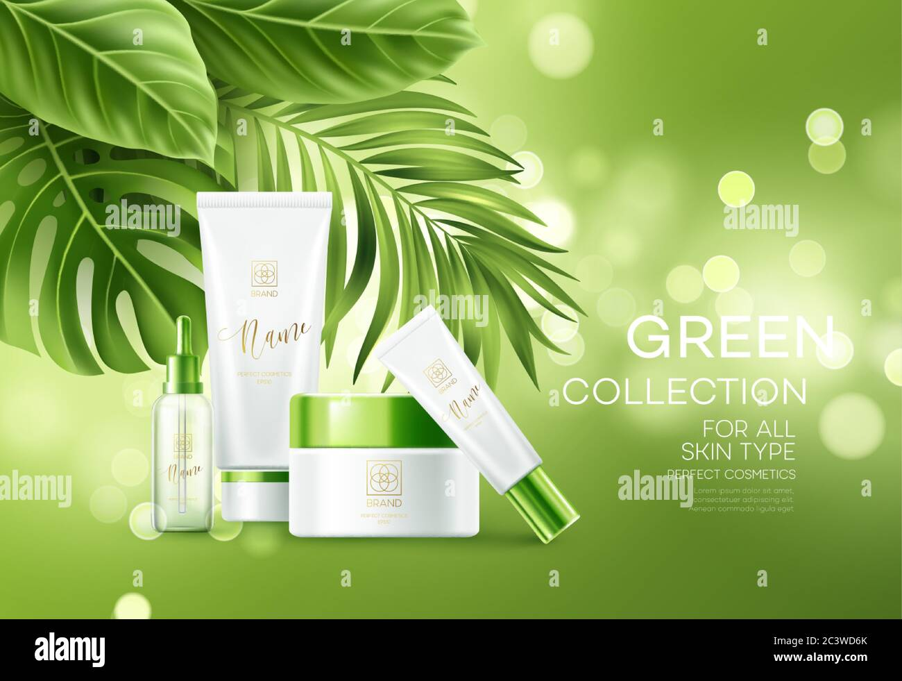 Cosmetics On Green Bokeh Background With Tropical Palm Leaves Face Cosmetics Body Care Banner Flyer Template Design Vector Illustration Stock Vector Image Art Alamy