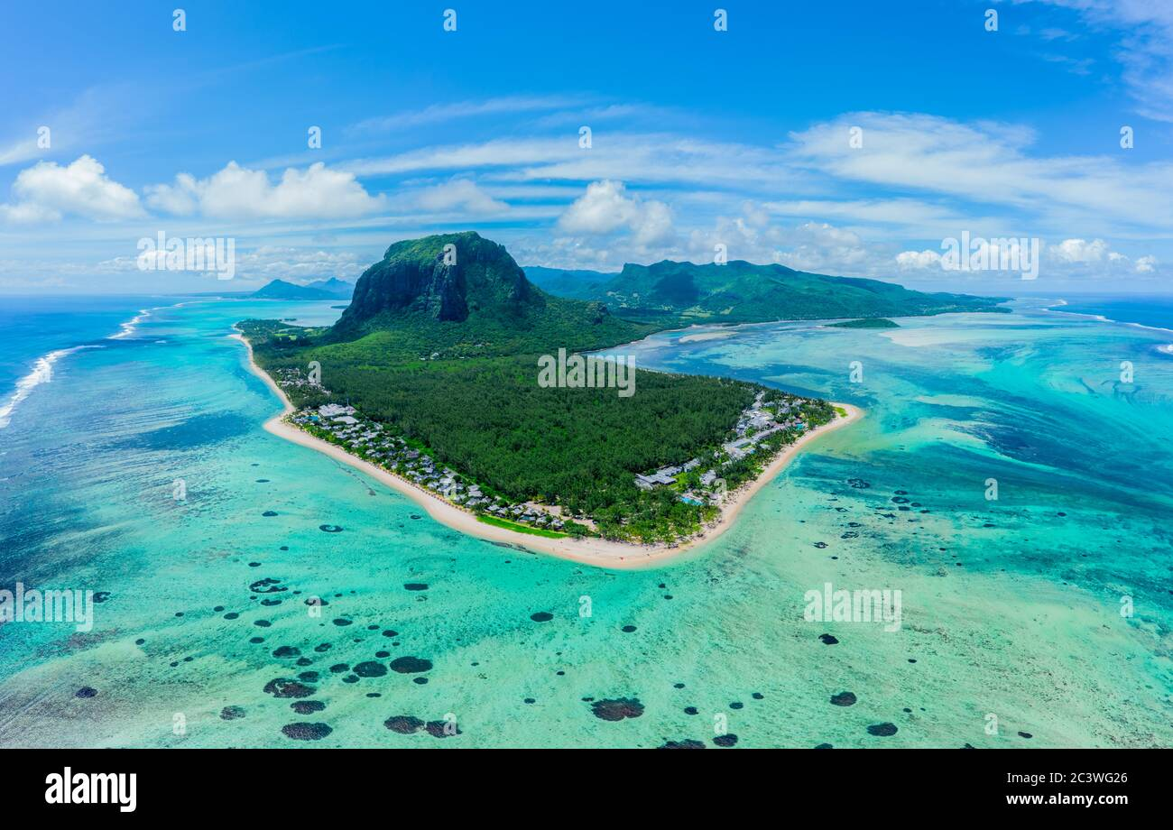 Aerial view of Le Morne Brabant, a UNESCO world heritage site.Coral reef of the island of Mauritius. panorama underwater waterfall Stock Photo