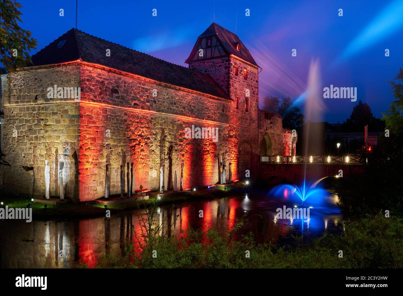 The Bad Vilbel castle at night Stock Photo
