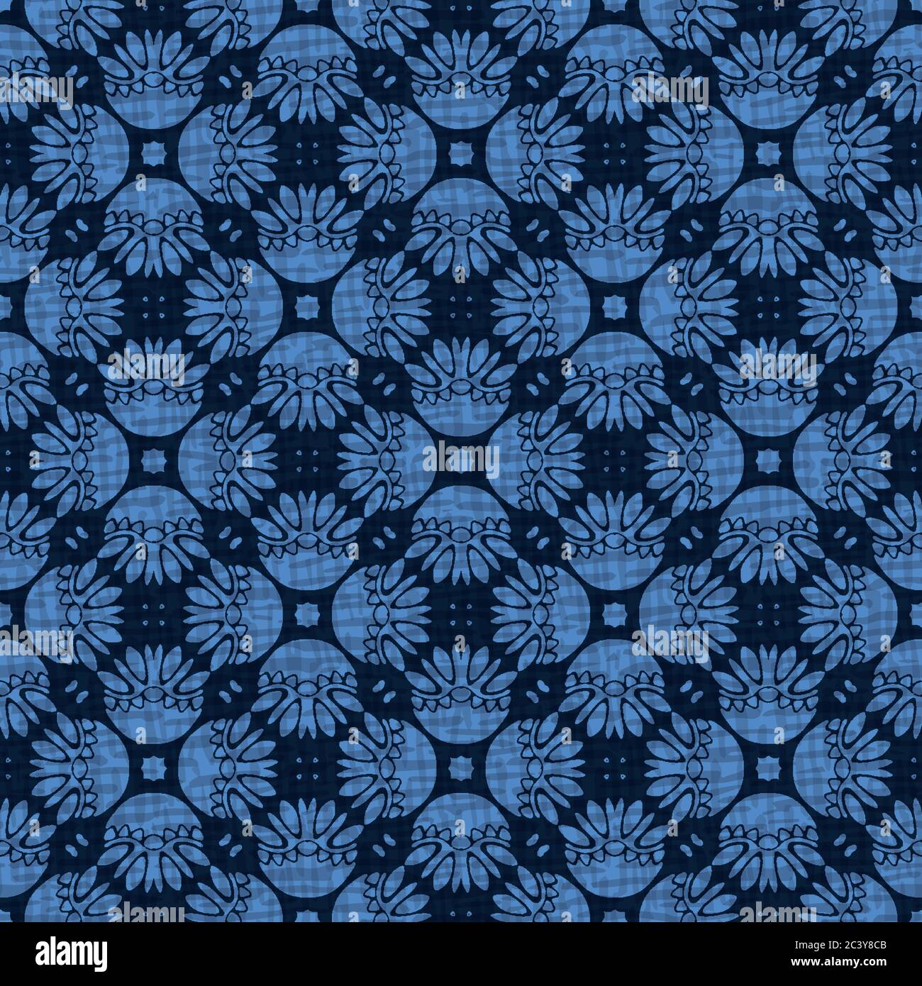 Seamless Pattern Indigo Blue Stylized Mosaic Floral Leaf Japanese Navy Quilt Style Home Decor Background Trendy Mosaic Grid All Over Print Stock Vector Image Art Alamy