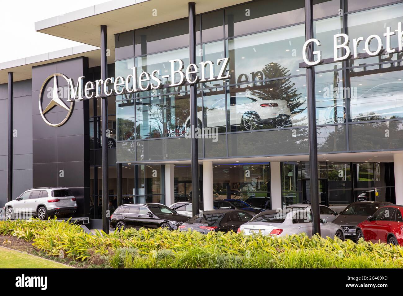 Mercedes Benz new car showroom in Sydney selling quality German cars,Australia Stock Photo