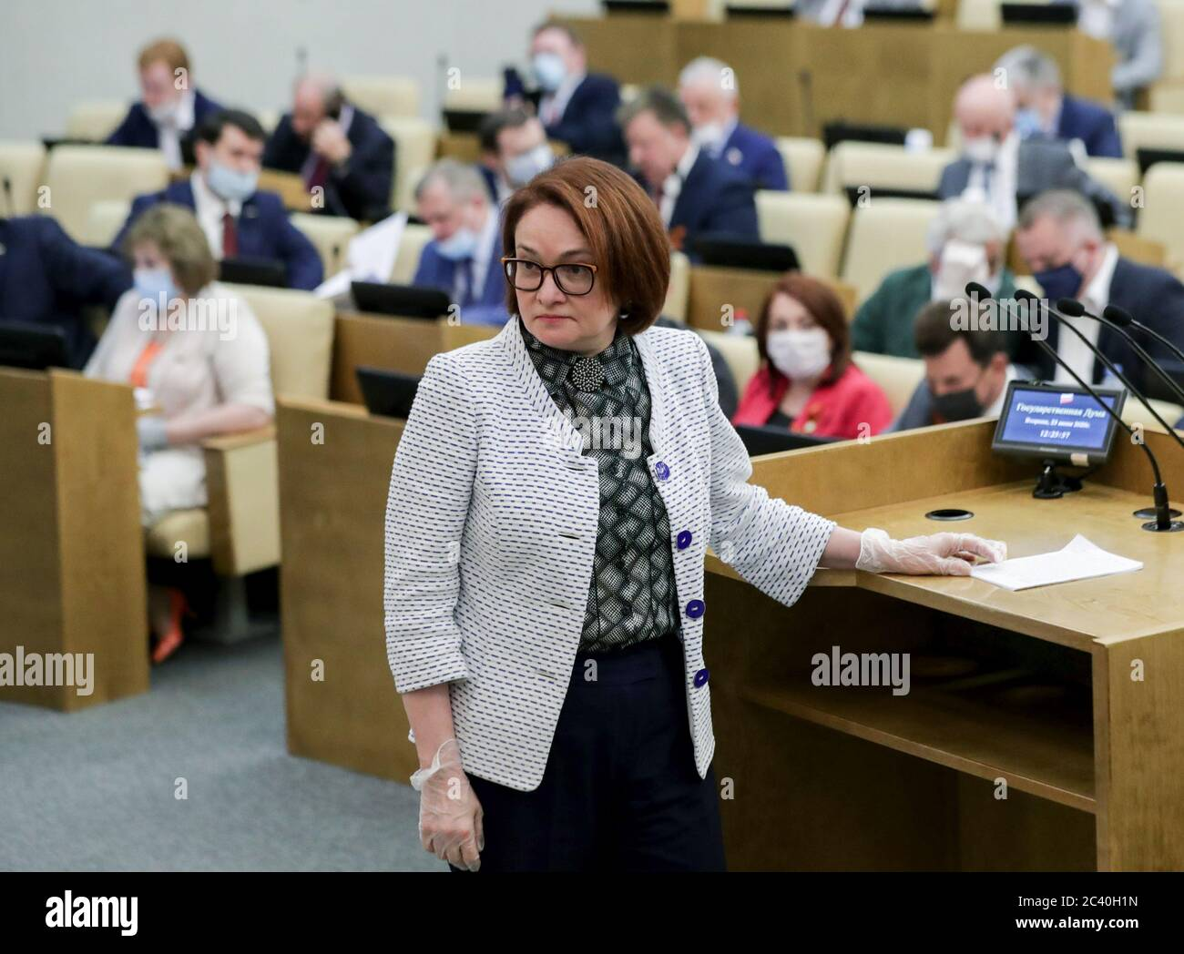 Moscow, Russia. 23rd June, 2020. Central Bank Governor Elvira Nabiullina attends a plenary meeting of the Russian State Duma. Credit: Russian State Duma Photo Service/TASS/Alamy Live News Stock Photo