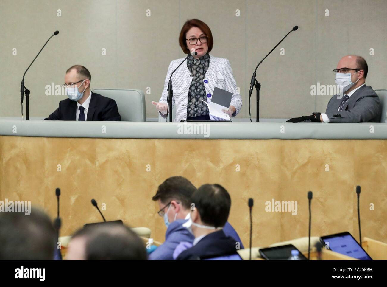 Moscow, Russia. 23rd June, 2020. Central Bank Governor Elvira Nabiullina (C back) attends a plenary meeting of the Russian State Duma. Credit: Russian State Duma Photo Service/TASS/Alamy Live News Stock Photo