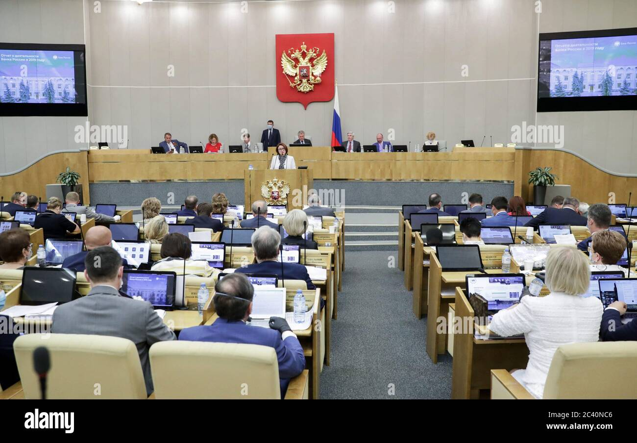 Moscow, Russia. 23rd June, 2020. Central Bank Governor Elvira Nabiullina (C) addresses a plenary meeting of the Russian State Duma. Credit: Russian State Duma Photo Service/TASS/Alamy Live News Stock Photo