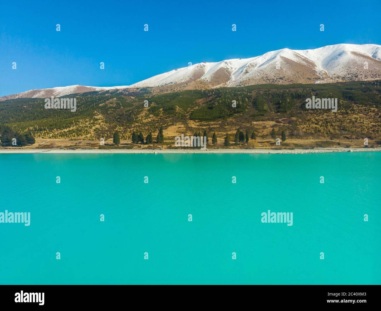 Scenic aerial view of Lake Pukaki, South Island, New Zealand Stock Photo