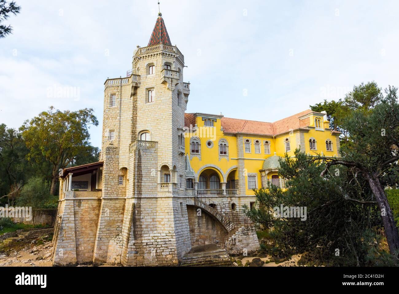Condes de Castro Guimarães Museum (Torre de S. Sebastião), Cascais, Lisbon district, Portugal. Architecture : Neo-romanticism & Neo-Gothic Stock Photo