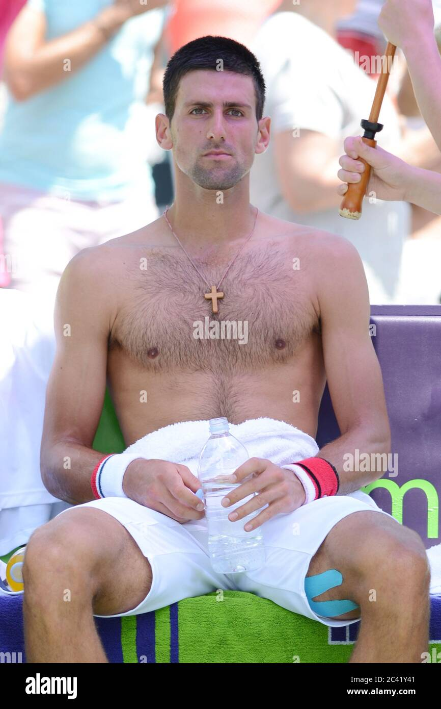 KEY BISCAYNE, FL - APRIL 01: Novak Djokovic of Serbia defeats Andy Murray of Great Britain in the men's singles final on day 14 of the Sony Ericsson Open at Crandon Park Tennis Center on April 1, 2012 in Key Biscayne, Florida. People: Novak Djokovic Credit: Storms Media Group/Alamy Live News Stock Photo