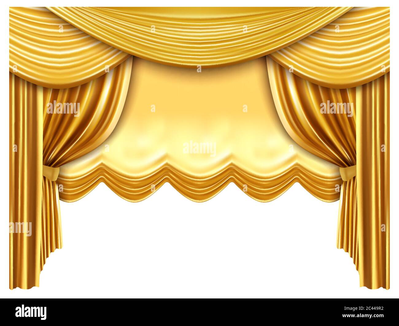 Golden Stage Curtain Realistic Silk Curtains Luxury Opera Scene Backdrop Gold Opera Theater Scene Portiere Drapes Vector Illustration Stock Vector Image Art Alamy