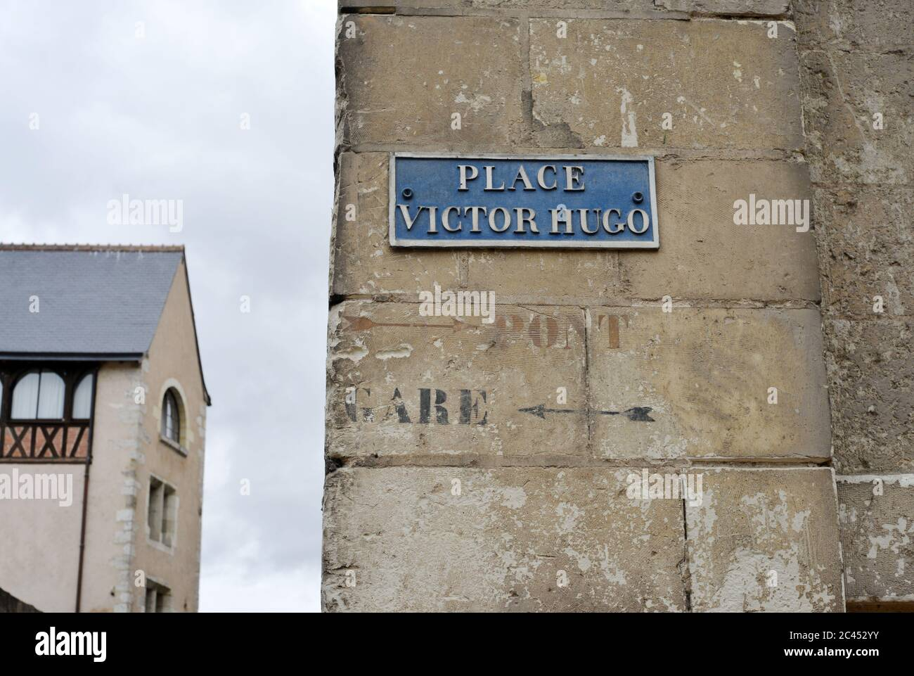 Place Victor Hugo and Indications Gare and Pont on a Wall France Stock Photo