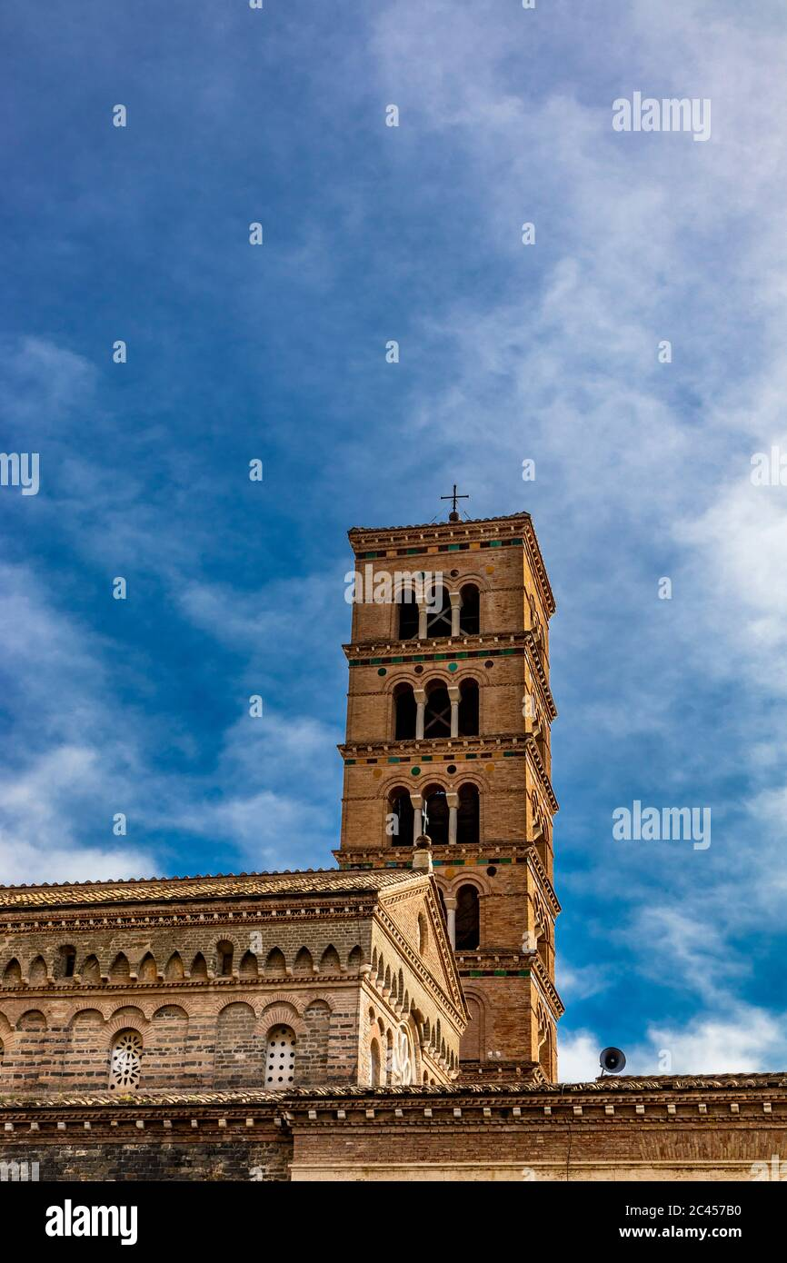 """The church, the bell tower, and the liturgical fountain """"the Paradise"""" in the Exarchic Monastery of Saint Mary in Grottaferrata, Greek Abbey of Saint Stock Photo"""