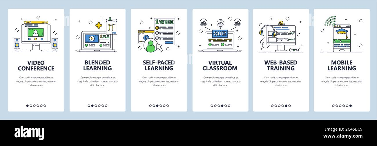 Online Education Video Conference And Distant Learning Online Virtual Class Mobile App Screens Vector Banner Template For Website And Mobile Stock Vector Image Art Alamy