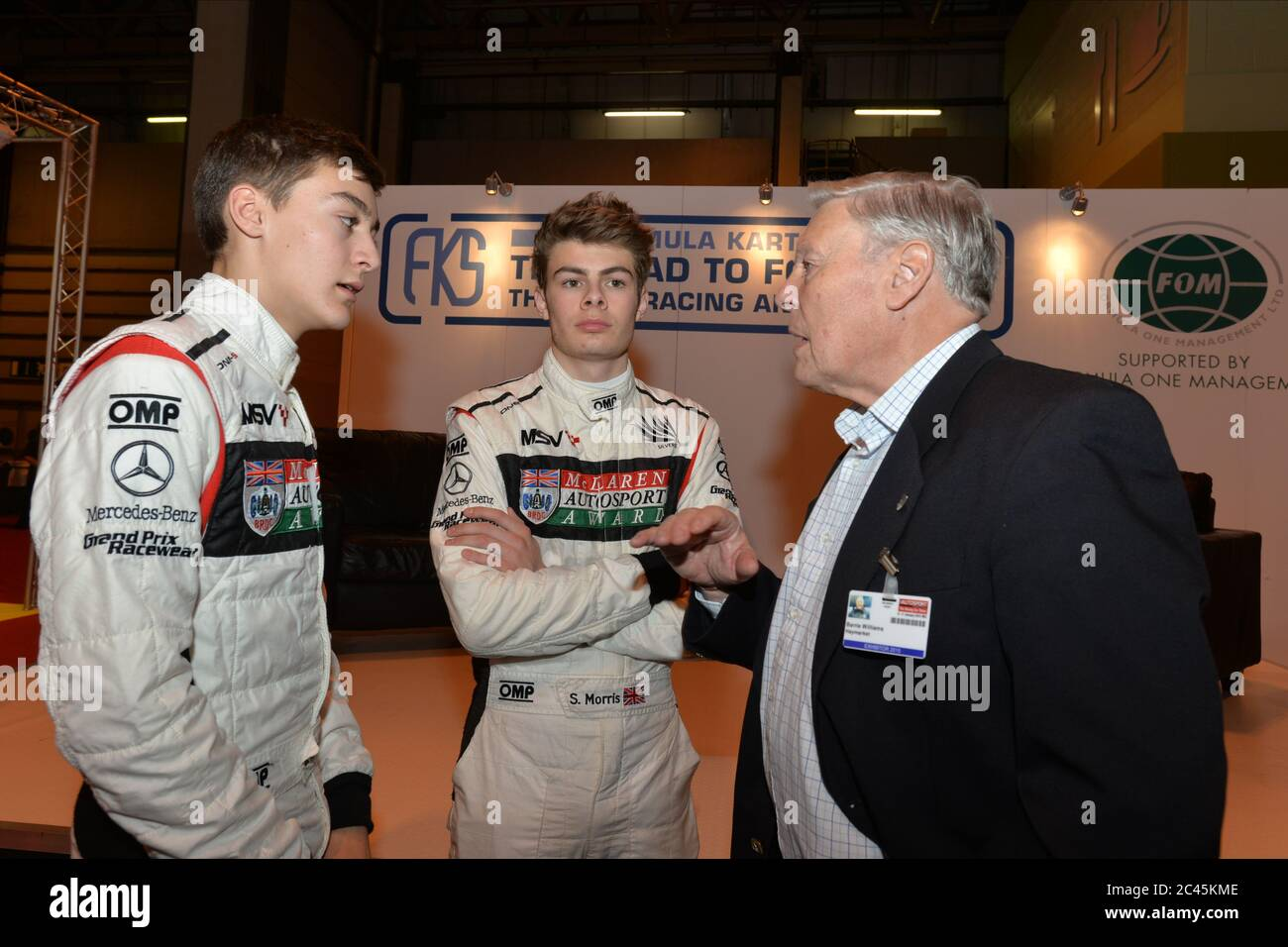 George Russell and Seb Morris receiving career advice from the late Barry Williams. Stock Photo