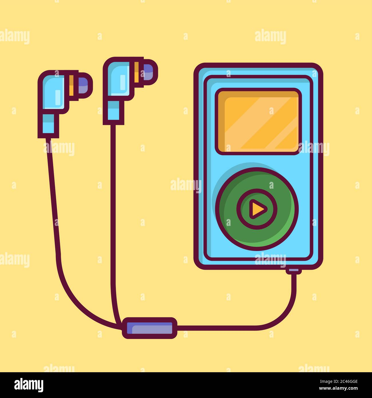Ipod Audio Music Player With Headset Vector Illustration Flat Cartoon Style Stock Vector Image Art Alamy