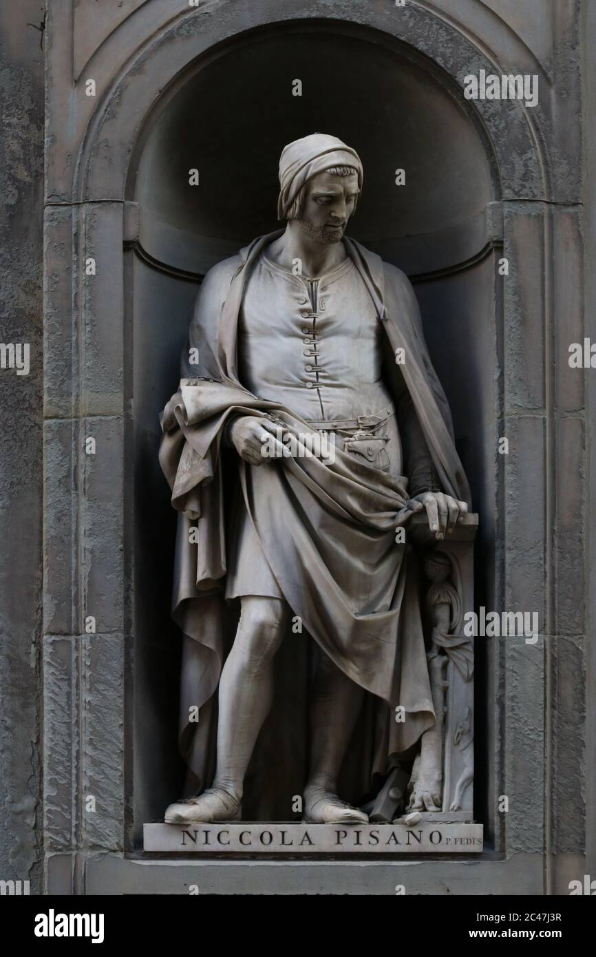 Statue of Nicola Pisano, italian famous sculptor, outdoor the Uffizi Museum building in Florence, Tuscany, Italy Stock Photo