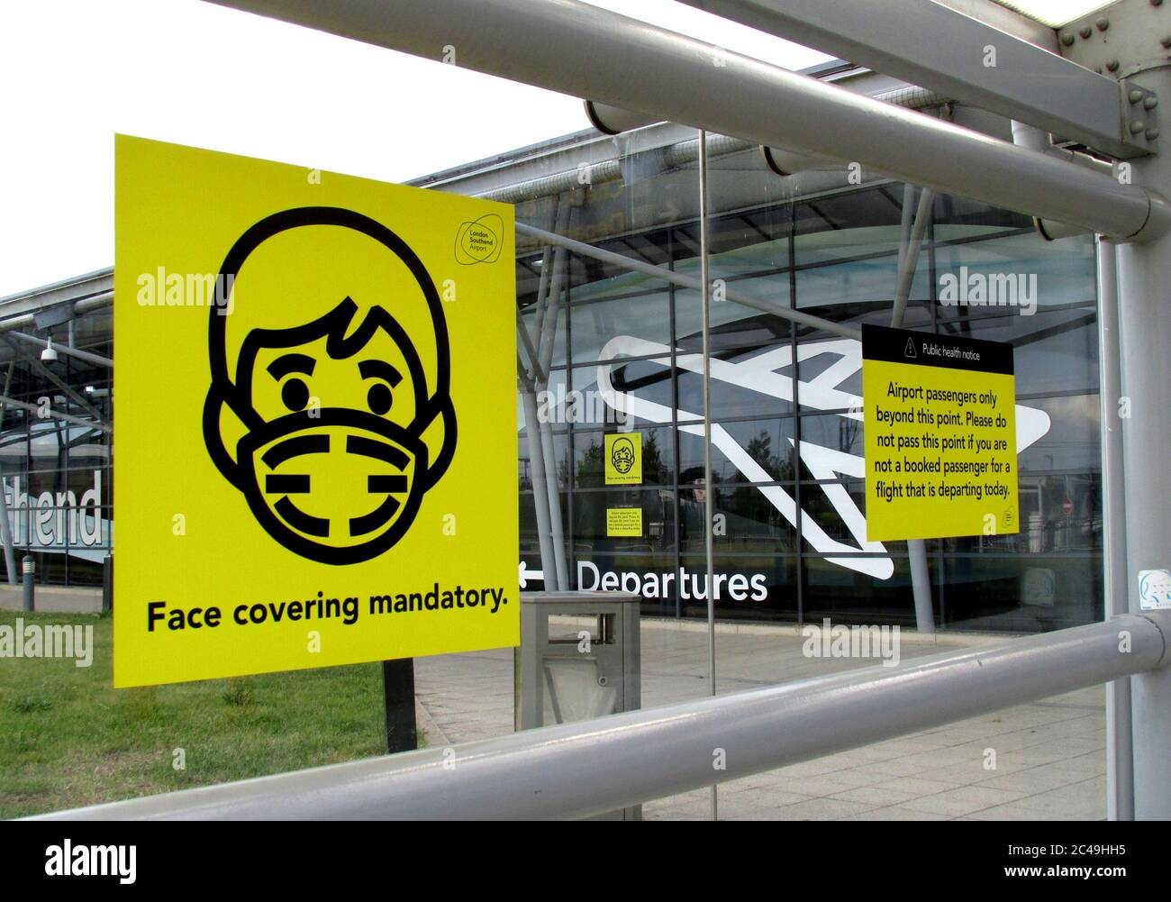 London Southend airport have made their terminal covid-19 secure by mandatory face coverings and only passengers with flights allowed inside June 2020 Stock Photo