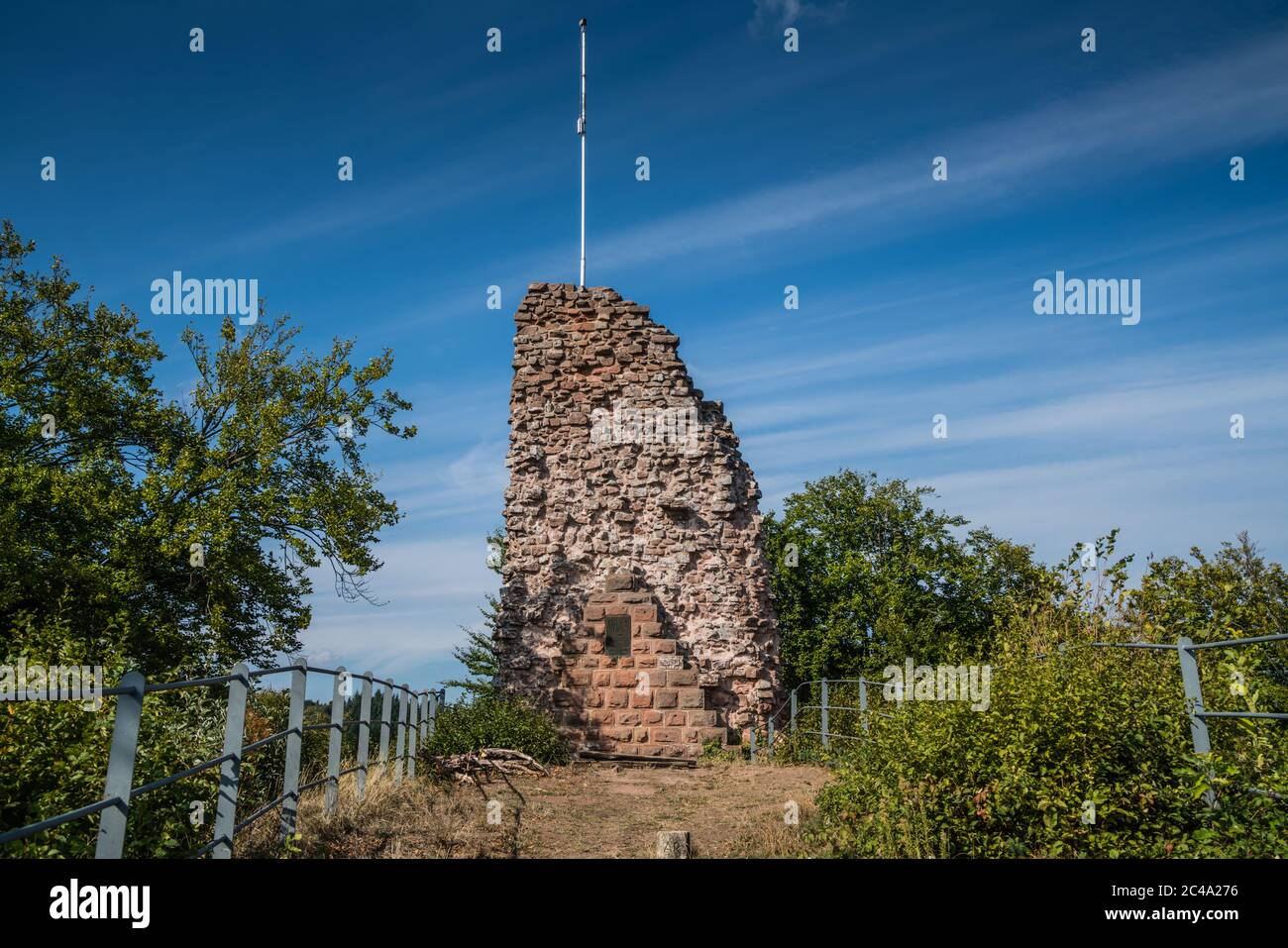The ruins of Guttenberg's berg fried are located in Palatinate Forest. The hilltop castle has been first mentioned in 12th century, destroyed at1525. Stock Photo