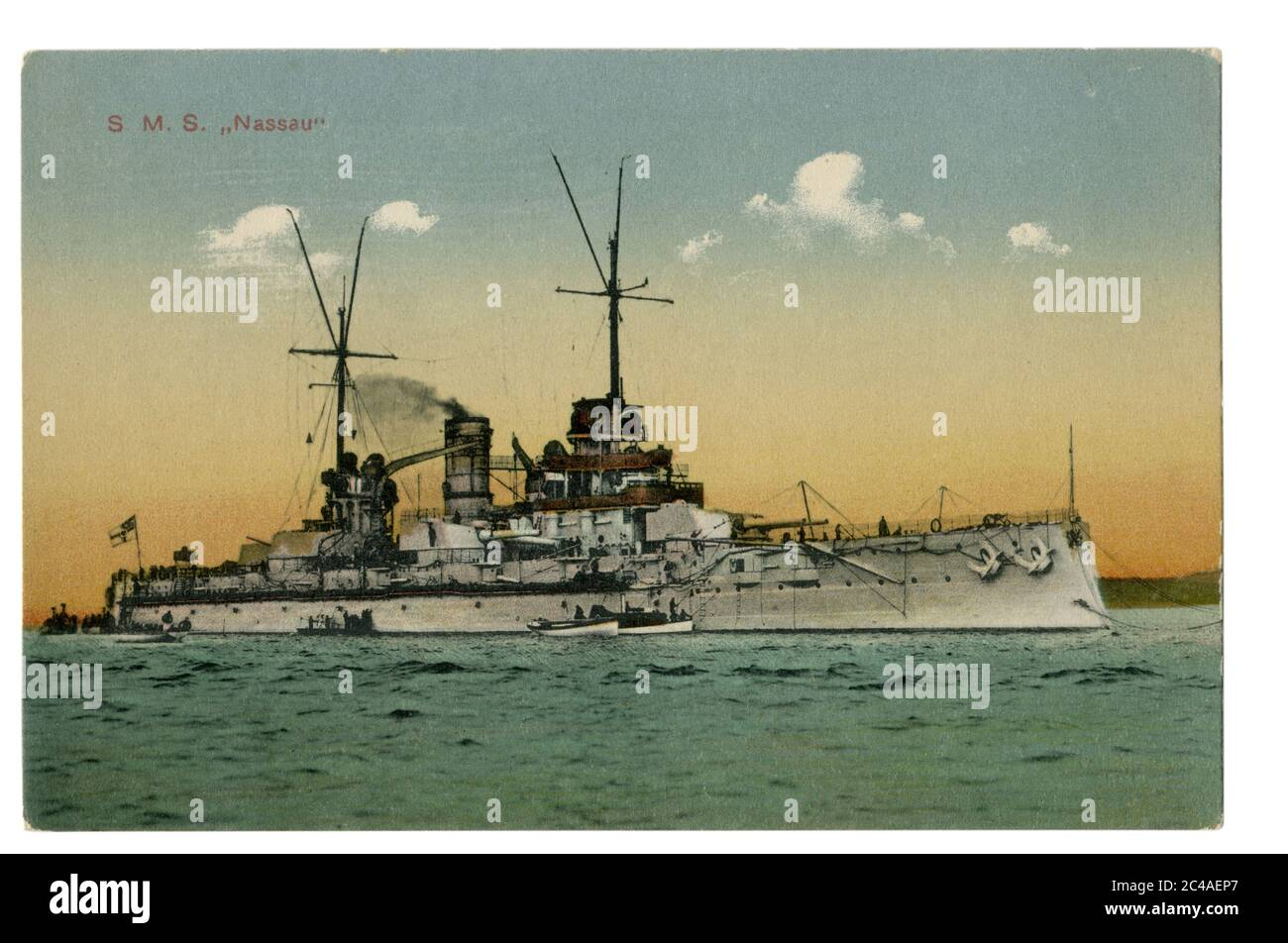 German historical postcard: SMS Nassau (1908) the first dreadnought battleship built for the Imperial German Navy, world war one 1914-1918 Stock Photo