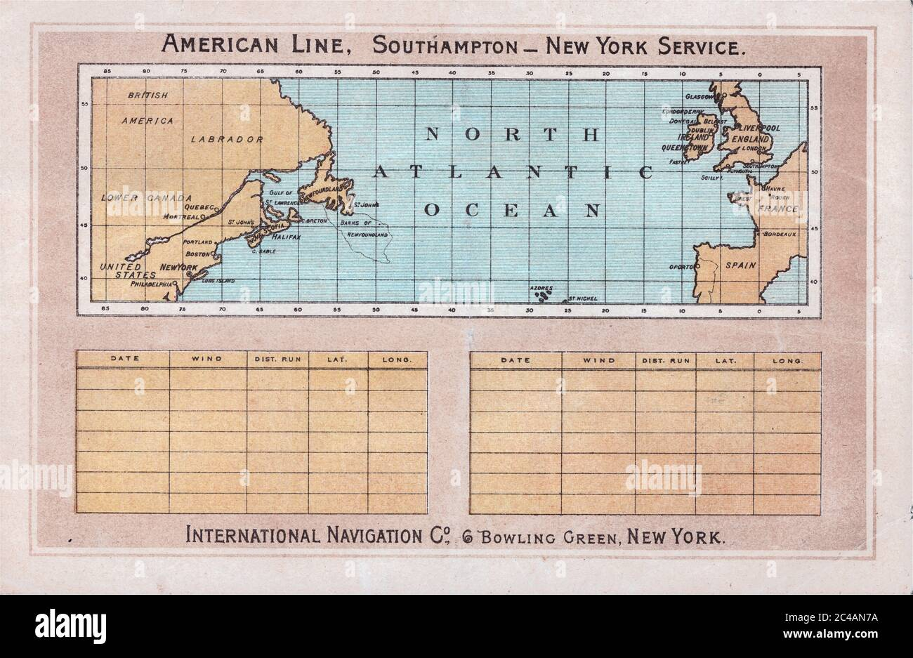 Track Chart on the Back Cover, Saloon Class Passenger List for the 3 June 1993 Voyage of the SS New York Stock Photo