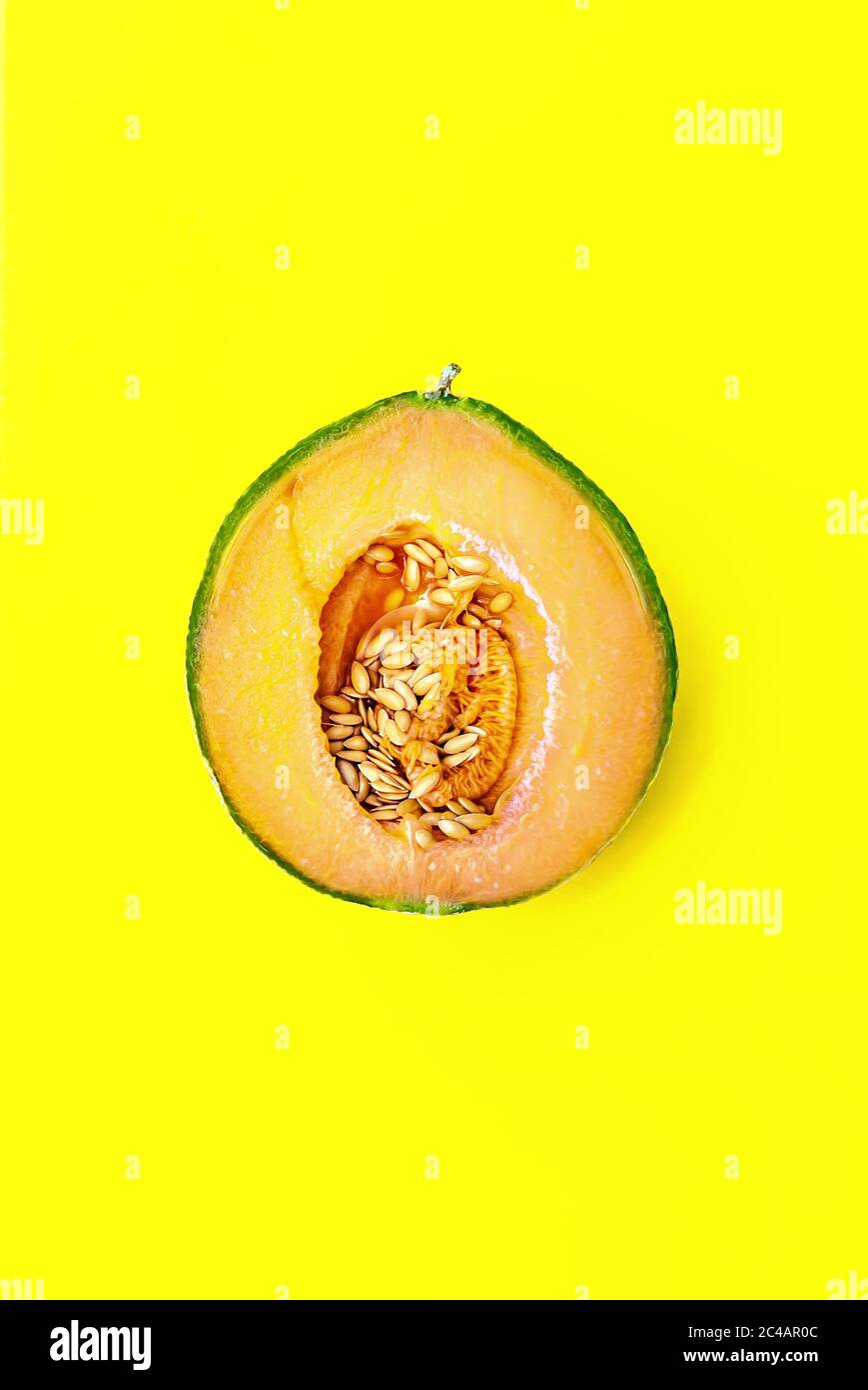 Honey Melon Or Cantaloupe Cucumis Melo One Half Of Japanese Melon On Yellow Background Summertime Fruits Healthy Eating Concept Top View Stock Photo Alamy At first the health benefits of cantaloupe may not seem as many as with other fruits. alamy