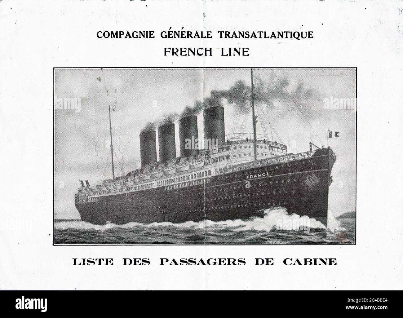 Front Cover, SS Chicago Passenger List - 15 April 1919 Stock Photo