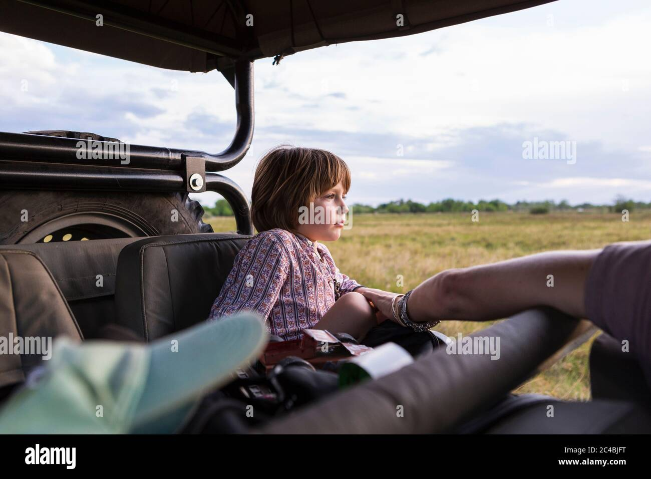 A five year old boy on safari, in a jeep in a game reserve Stock Photo