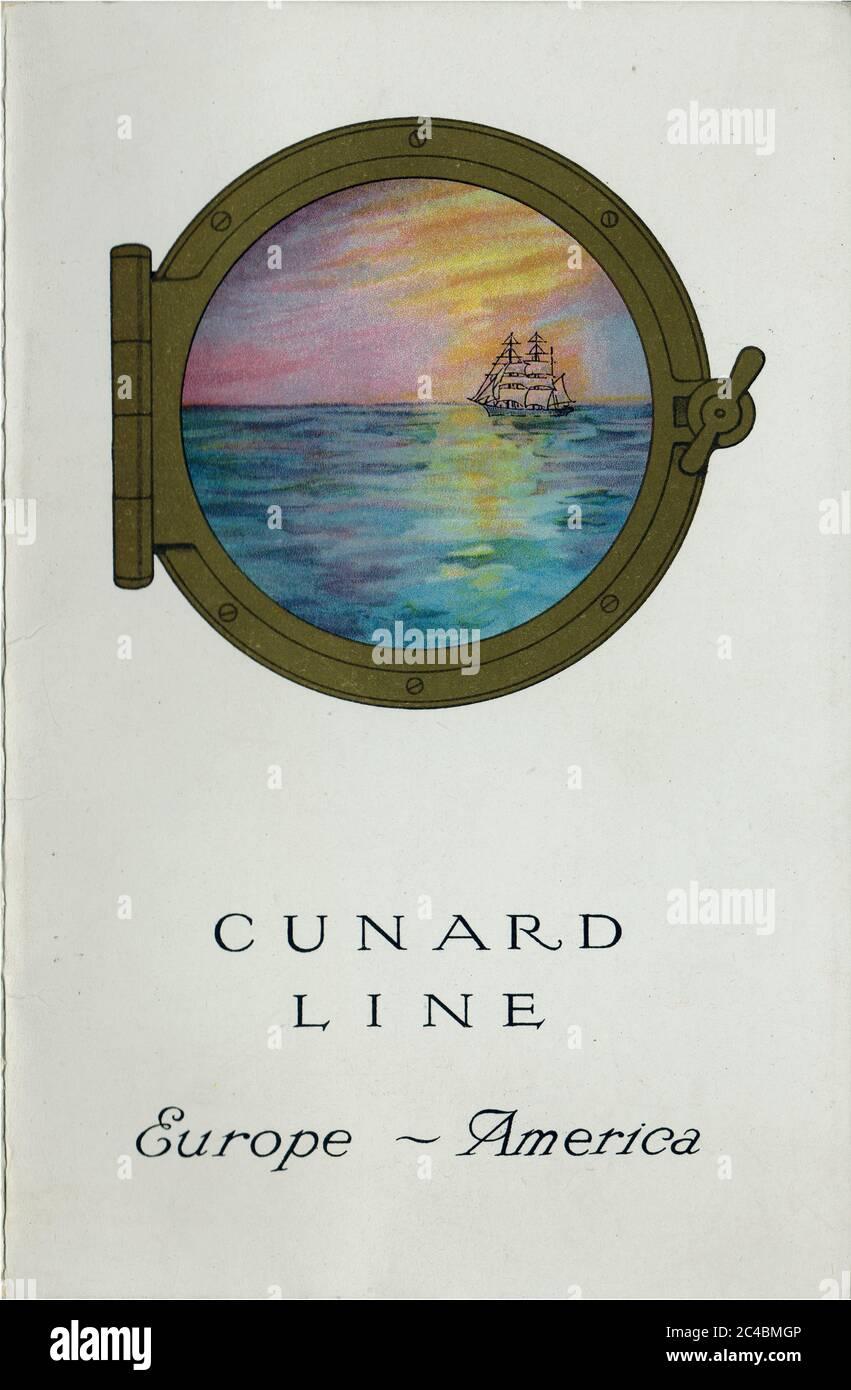 RMS Scythia Passenger List - 20 August 1921 Front Cover Stock Photo