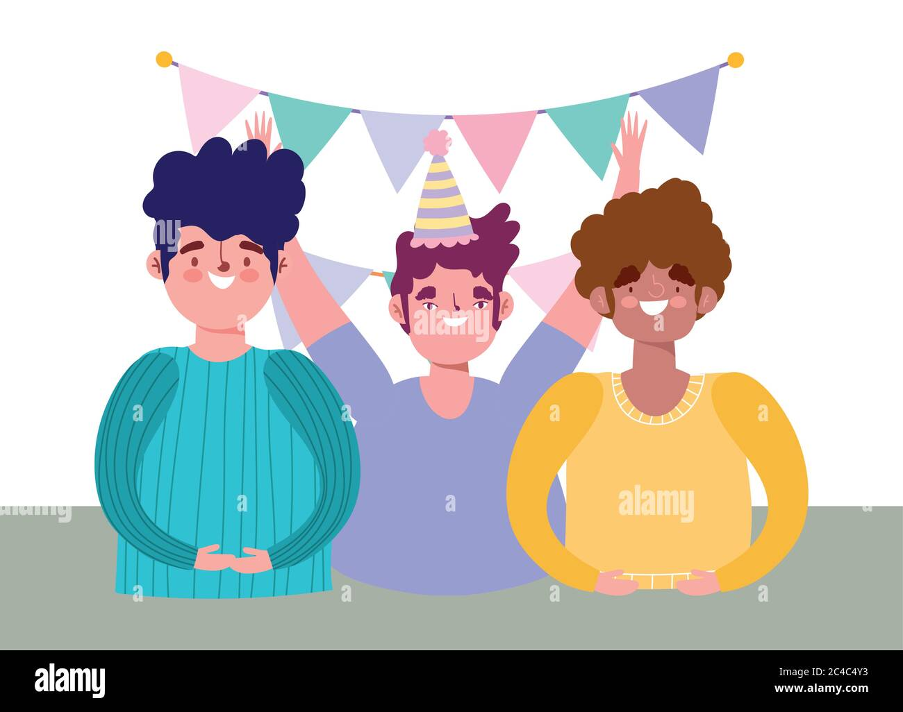 online party, birthday or meeting friends, happy group men with hat and pennants celebraton vector illustration Stock Vector