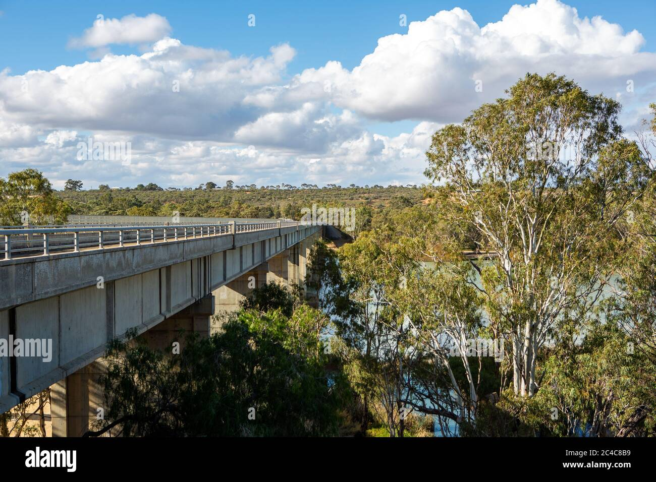 The historic old Blanchetown bridge crossing over the beautiful River Murray at Blanchetown in the riverland South Australia on the 20th June 2020 Stock Photo