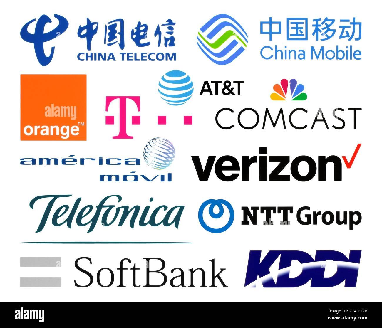 Kiev, Ukraine - February 23, 2020: Logos collection of  the biggest world telecommunication companies, such as: China Telecom, AT&T, Verizon, Telefoni Stock Photo