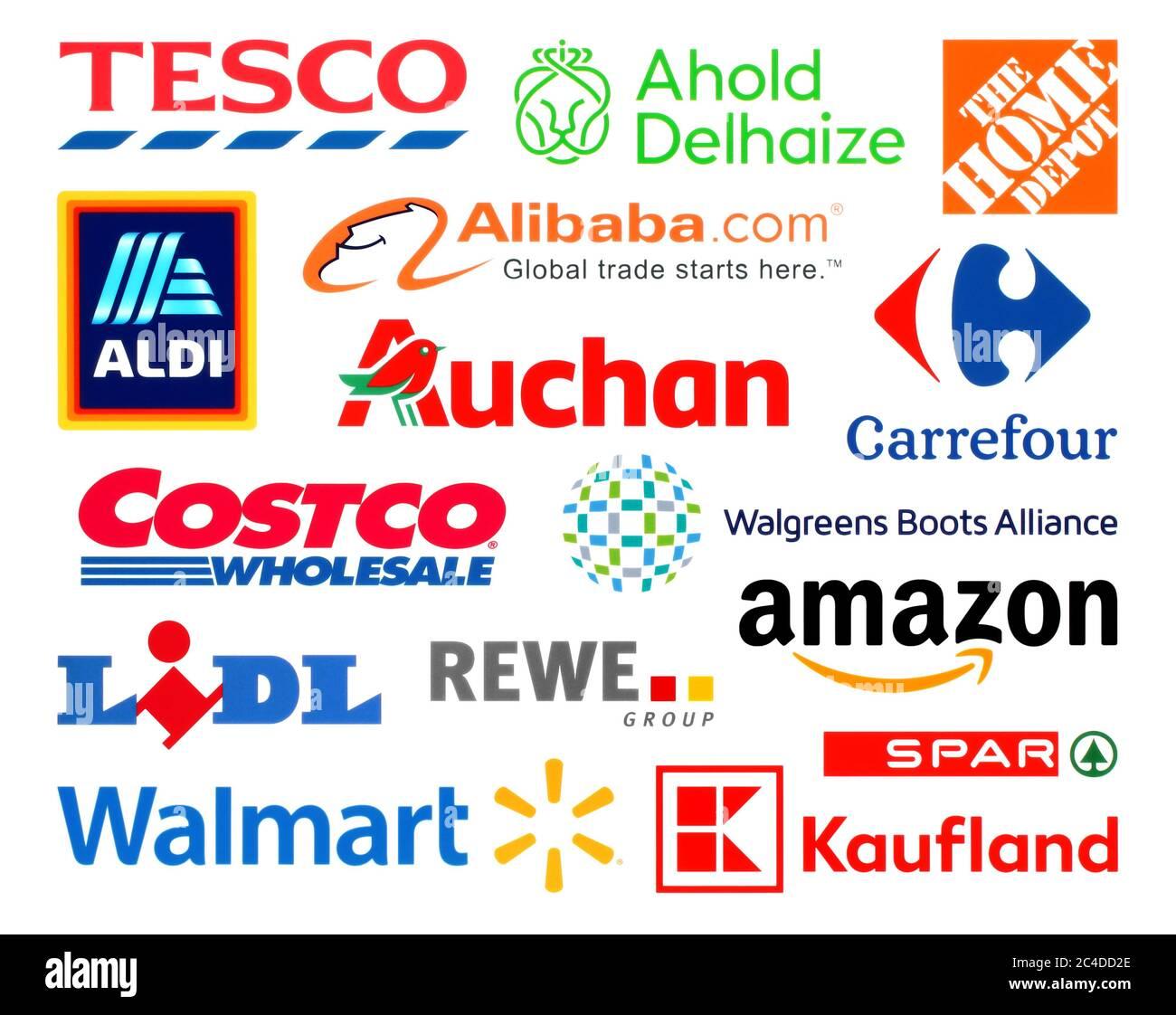 Kiev, Ukraine - February 23, 2020: Logos collection of the biggest world retails, such as: Amazon, Tesco, Alibaba, Lidl, Walmart, Aldi, Auchan, and ot Stock Photo