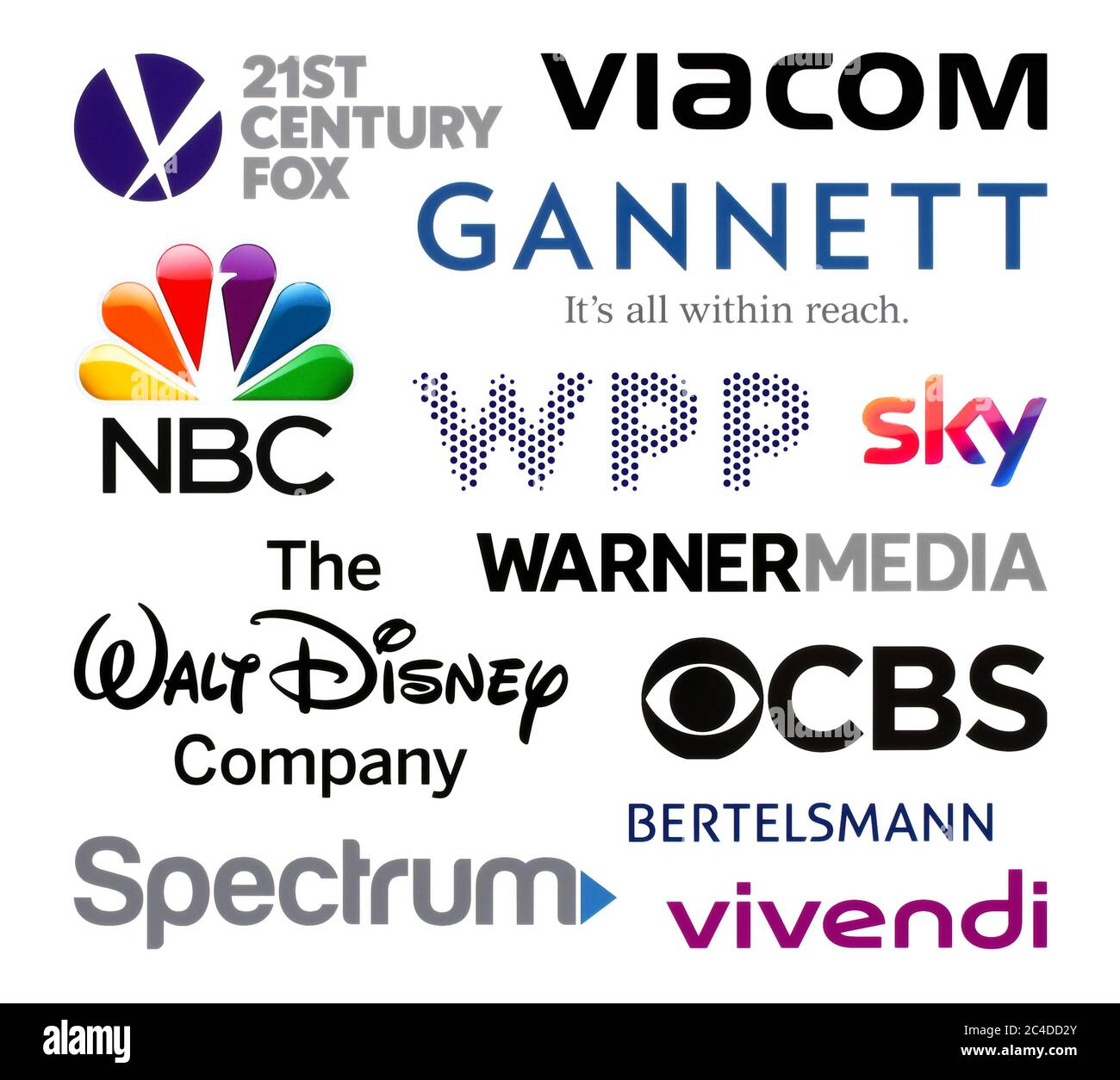 Kiev, Ukraine - February 23, 2020: Logos collection of the biggest world broadcasting companies, such as: 21st Century Fox, Viacom, Gannett, NBC, WPP, Stock Photo