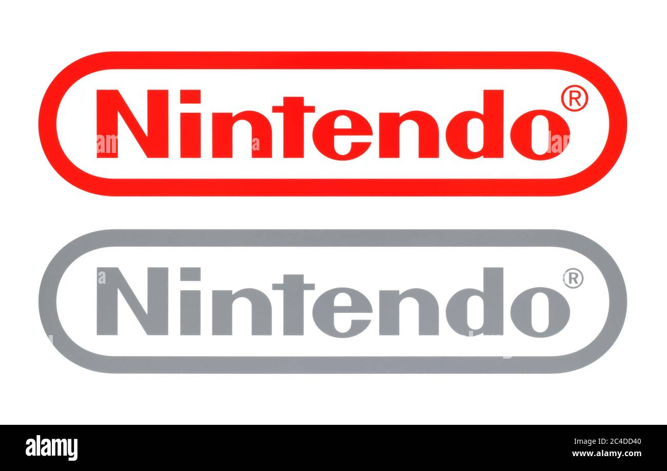 Kiev, Ukraine - February 23, 2020: New and Old Nintendo logos, printed on white paper. Nintendo is a Japanese multinational consumer electronics and v Stock Photo