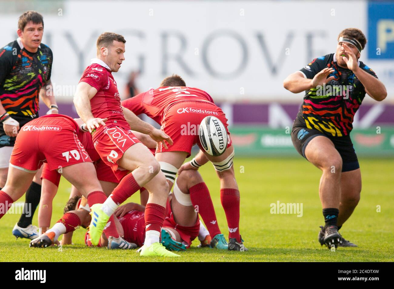 Parc y Scarlets, Llanelli, Wales, UK. Saturday 13 April 2019.Scarlets scrum half Gareth Davies kicks in the Guinness Pro14 match between Scarlets and Stock Photo