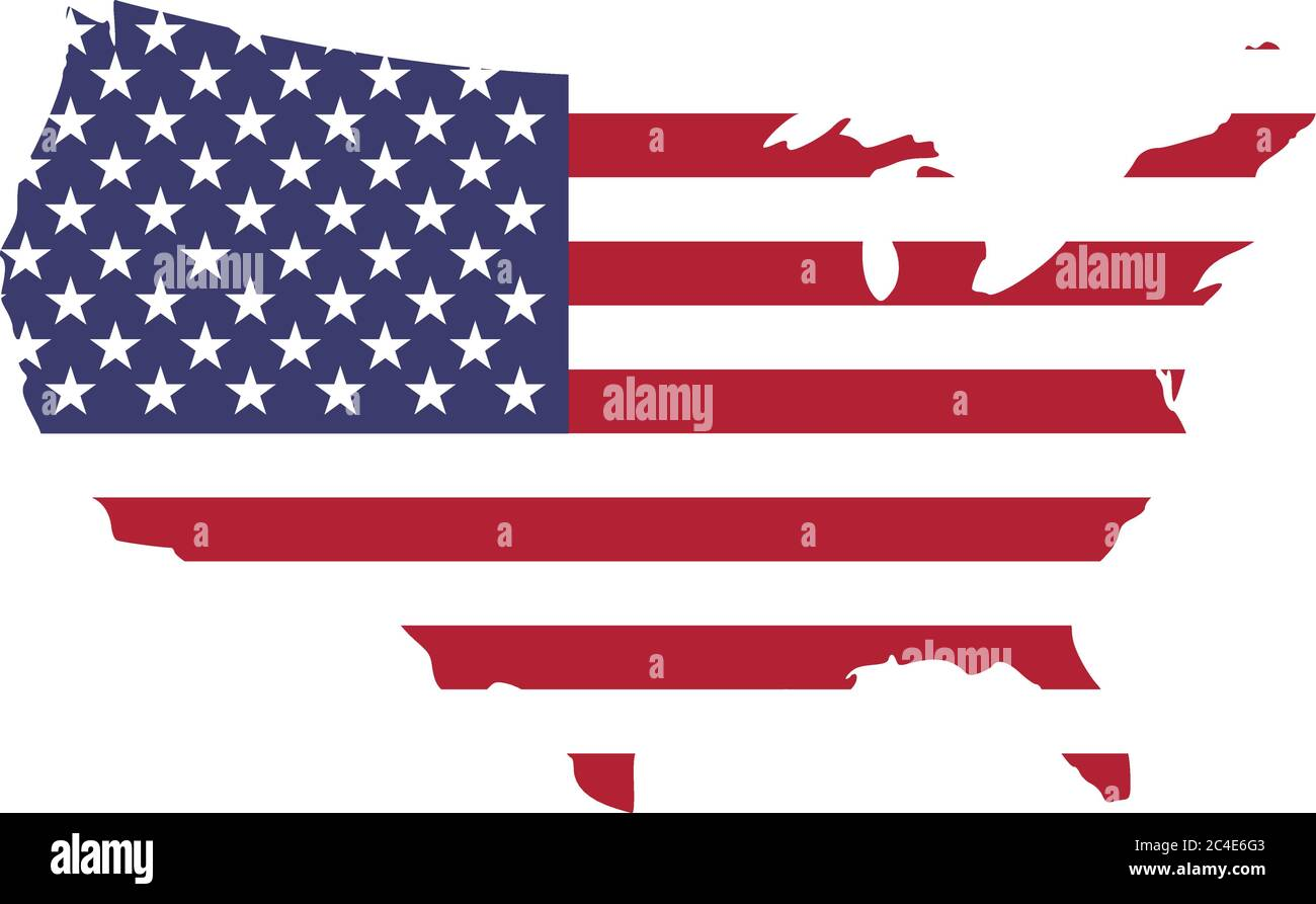 USA flag in a shape of US map silhouette. United States of America symbol. EPS10 vector illustration. Stock Vector