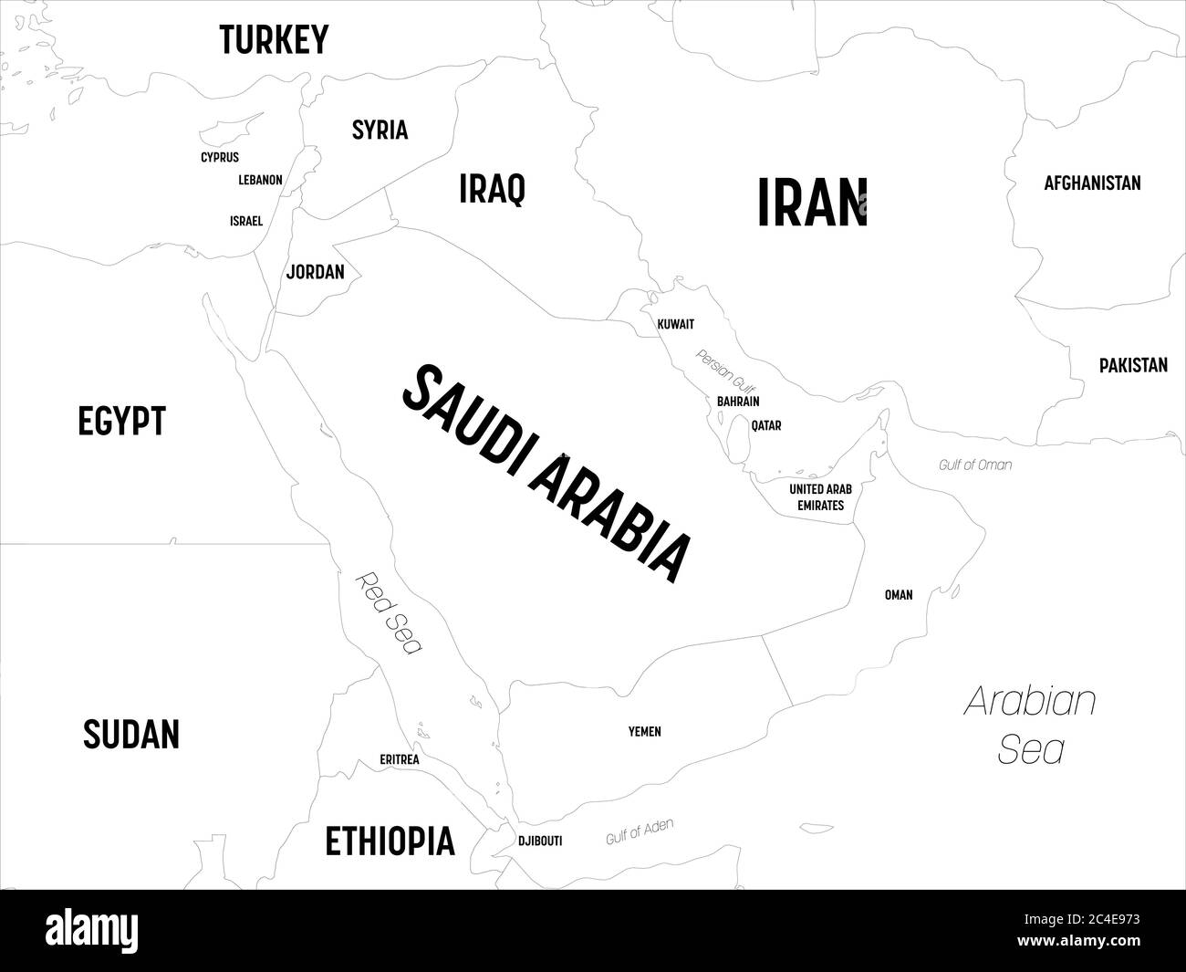 Picture of: Middle East Map High Detailed Political Map Of Middle East And Arabian Peninsula Region With Country Capital Ocean And Sea Names Labeling Stock Vector Image Art Alamy