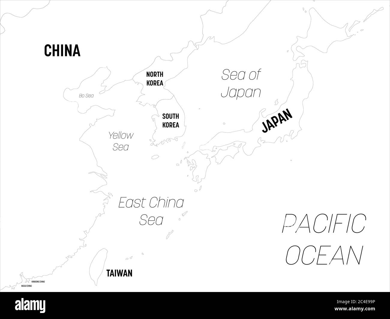 Picture of: East Asia Map High Detailed Political Map Of Eastern Region With Country Capital Ocean And Sea Names Labeling Stock Vector Image Art Alamy