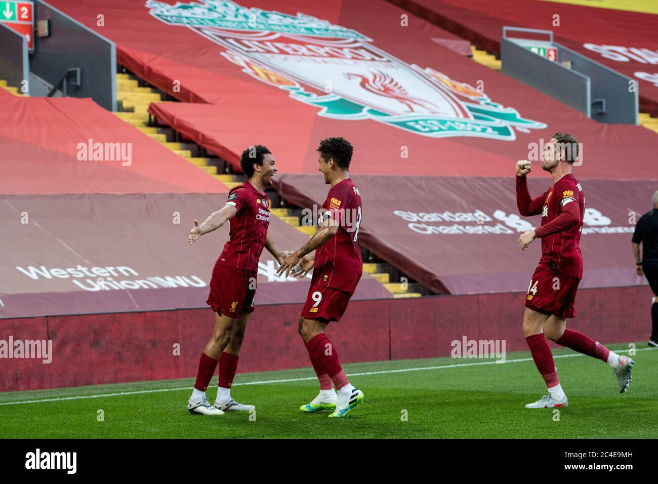 Premier League Match Between Liverpool Fc And Crystal Palace At Anfield On June 24 2020 In Liverpool United Kingdom Stock Photo Alamy