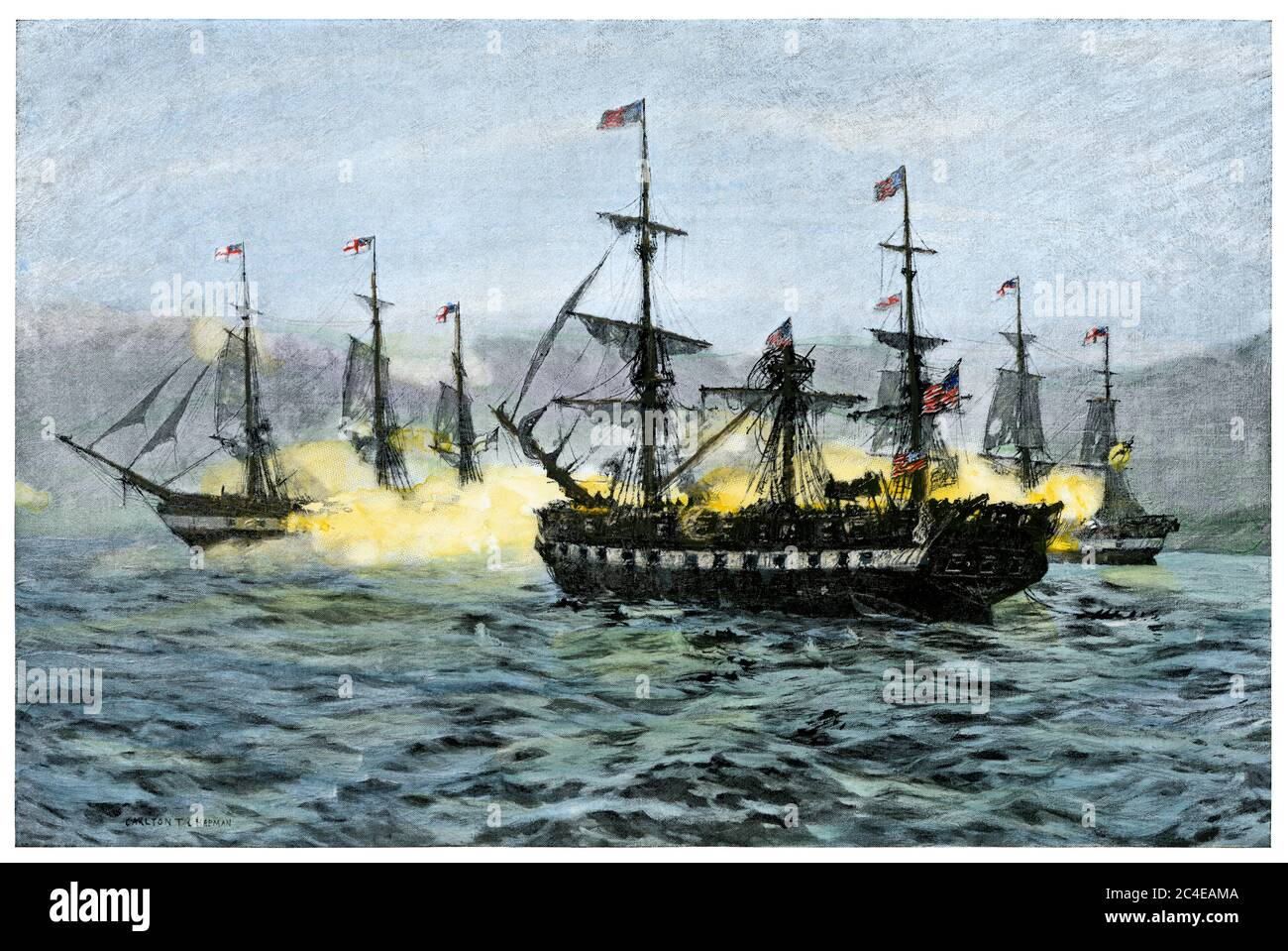 Capture of USS Essex by British warships, Valparaiso, Chile, 1814. Hand-colored halftone of an illustration Stock Photo