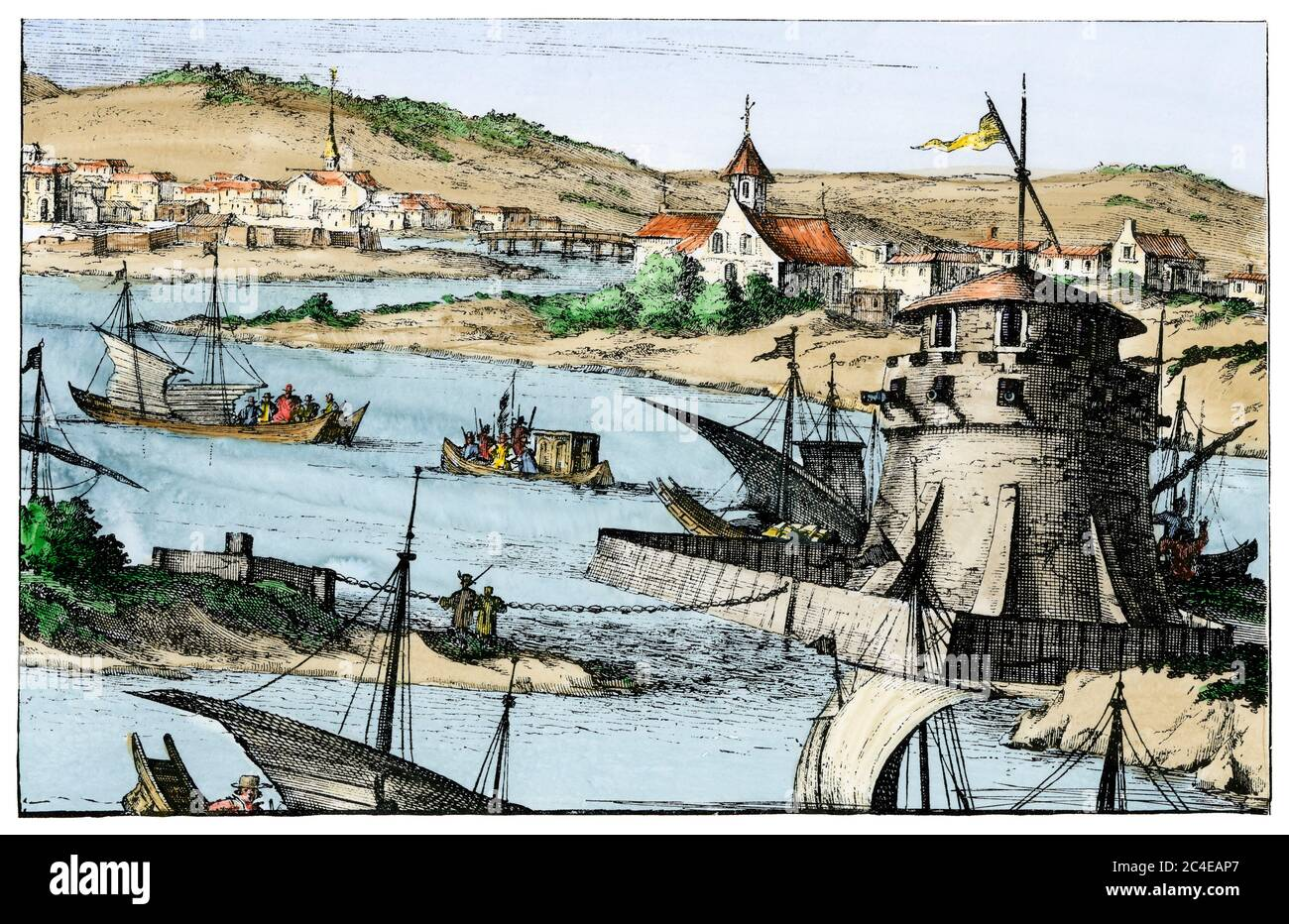 Cartagena, Colombia, an important Spanish colonial seaport, early 1600s. Hand-colored woodcut from Montanus Stock Photo