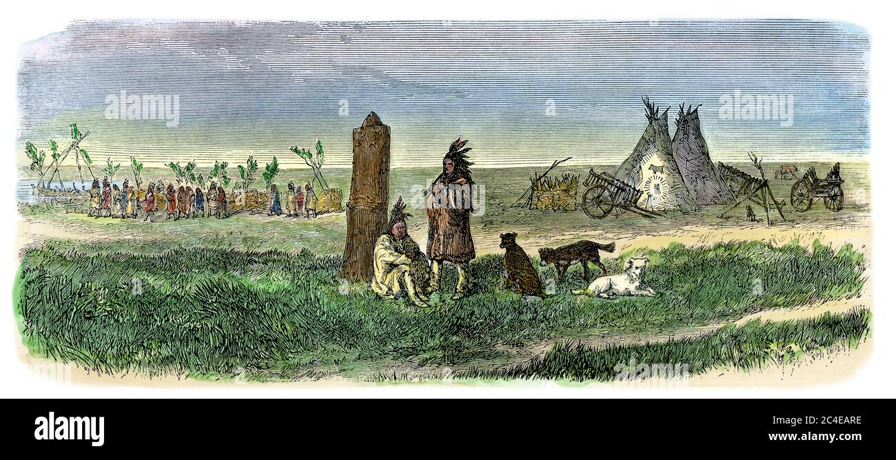 Boundary post between the US border and Rupert's Land, Canada, 1860s. Hand-colored woodcut Stock Photo