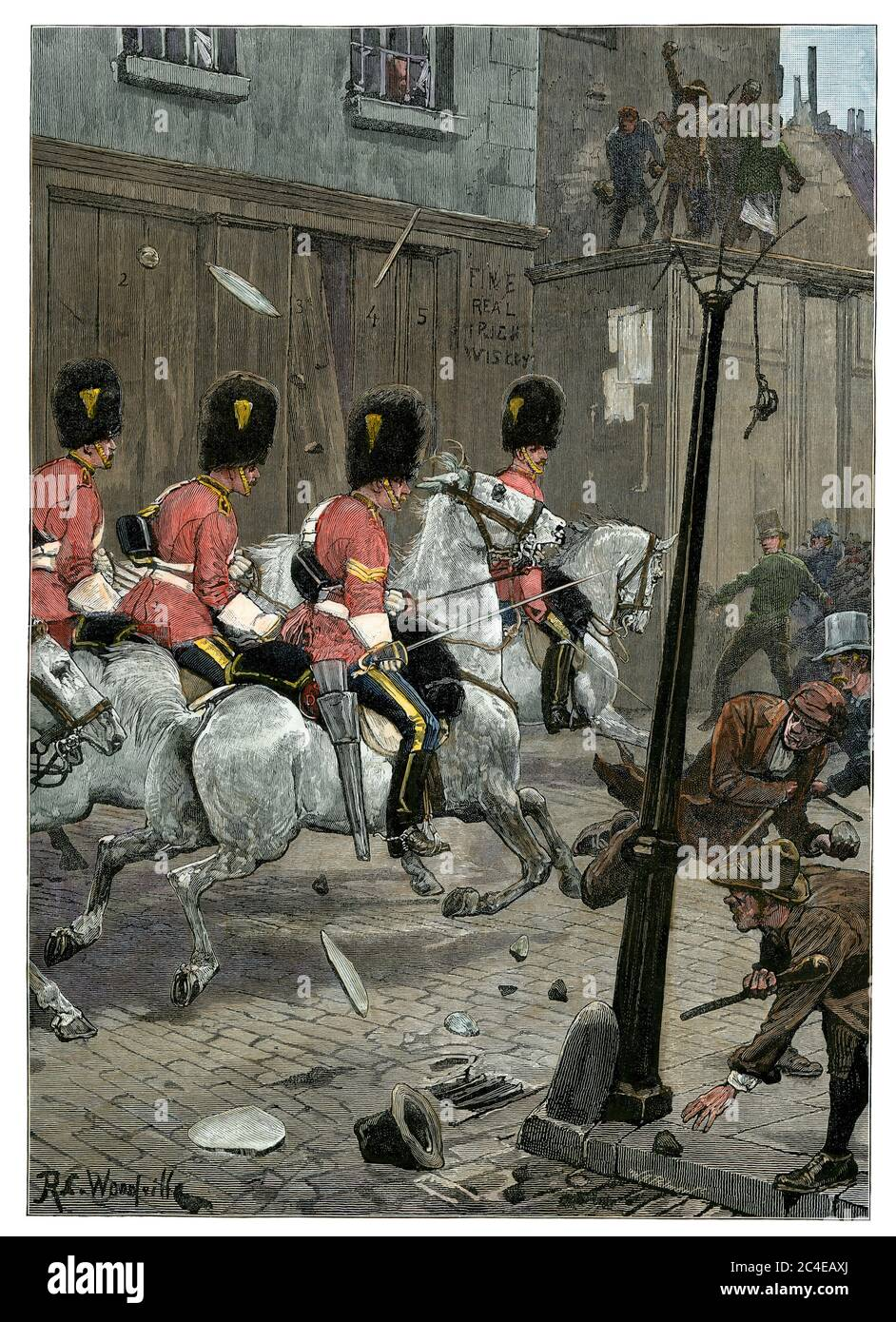 Royal Scots Grays cavalry charging Irish Land League agitators in Limerick, 1881. Hand-colored woodcut Stock Photo