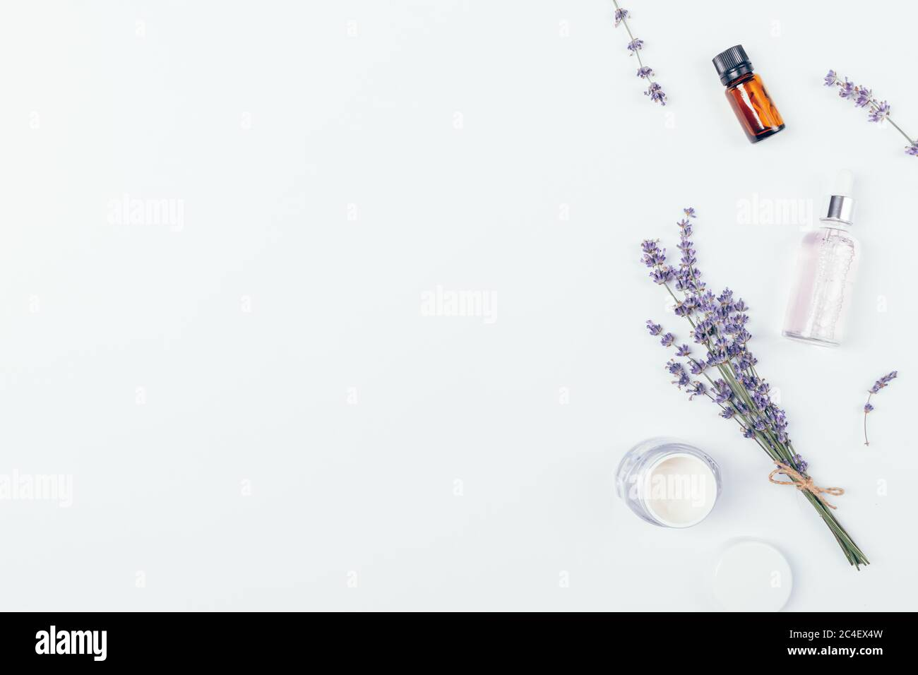 Flat Lay Composition With Natural Skin Care Cosmetics And Lavender Flowers On White Background With Free Space For Text Or Design Stock Photo Alamy