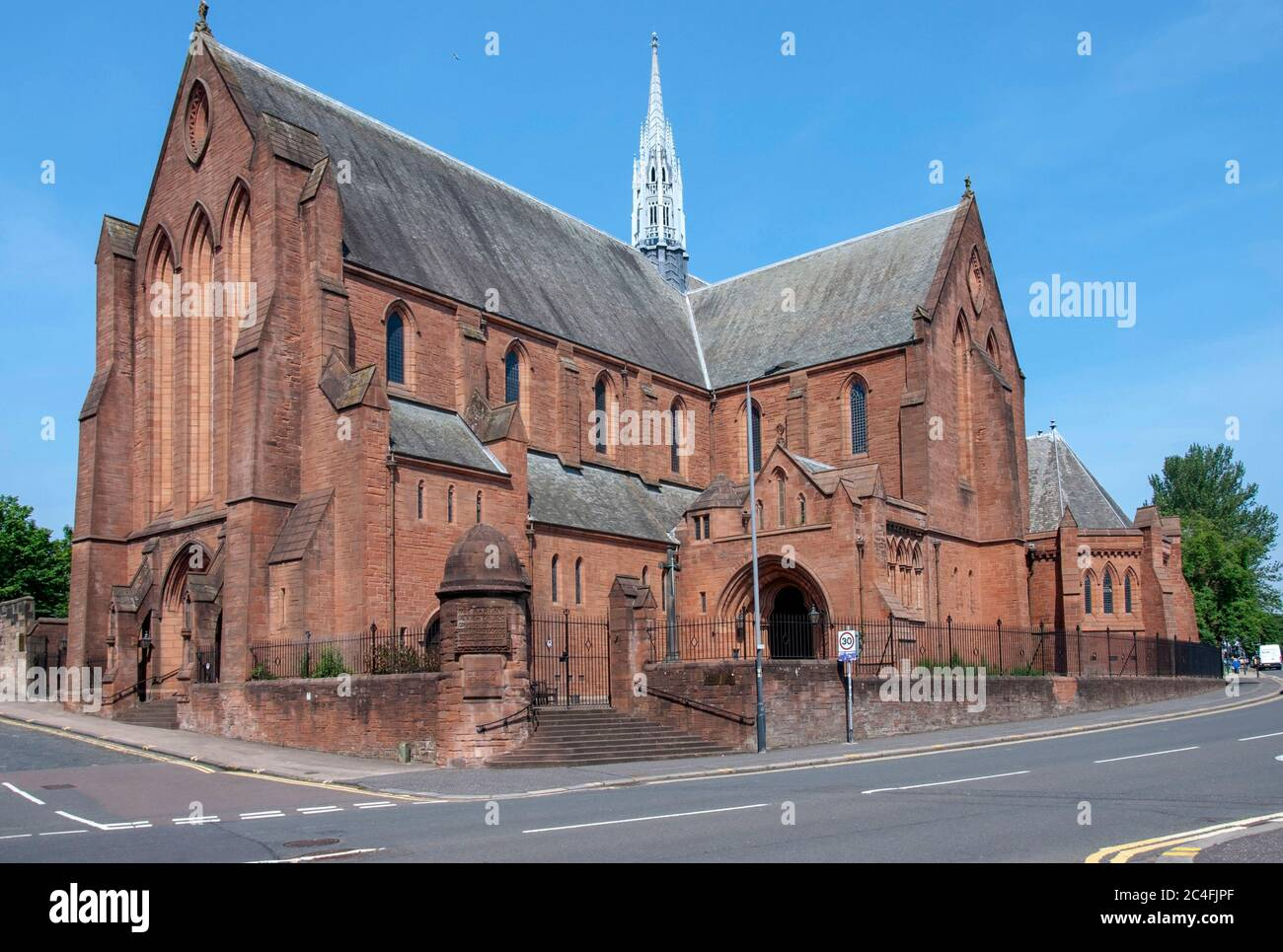The University of Strathclyde Barony Church Hall Castle Street Glasgow Scotland United Kingdom exterior view red sandstone victorian gothic former chu Stock Photo